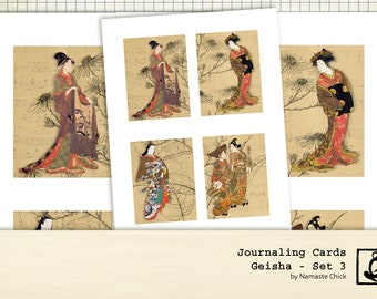 Geisha Journaling Card Printables, Set 3