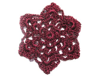 CROCHET FI FLOWER DIAMETER 7 CM BORDEAUX RED VISCOSE