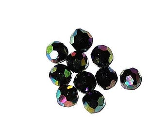 BLACK IRIDESCENT AB FACETED BEADS 10 SQUARED 8