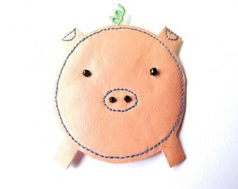VINYL TRANSFER HOT FIX 55/60 MM PINK PIG HEAD