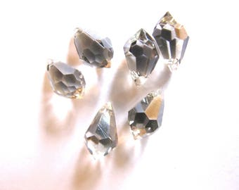 BLACK DIAMOND 6/12 MM GLASS FACETED DROPS 6