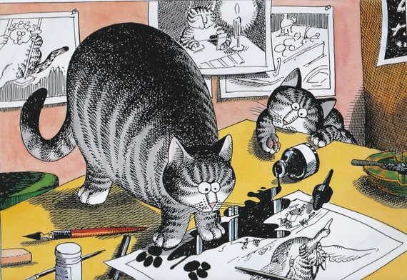 Kliban Cats Vintage Original Print Cat Office Cats with a Computer Mouse Large Color