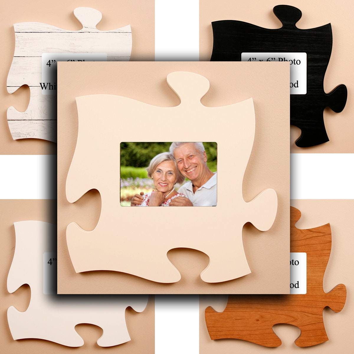 Puzzle Picture Frame (Blank), 4x6 Photo, Puzzle Photo