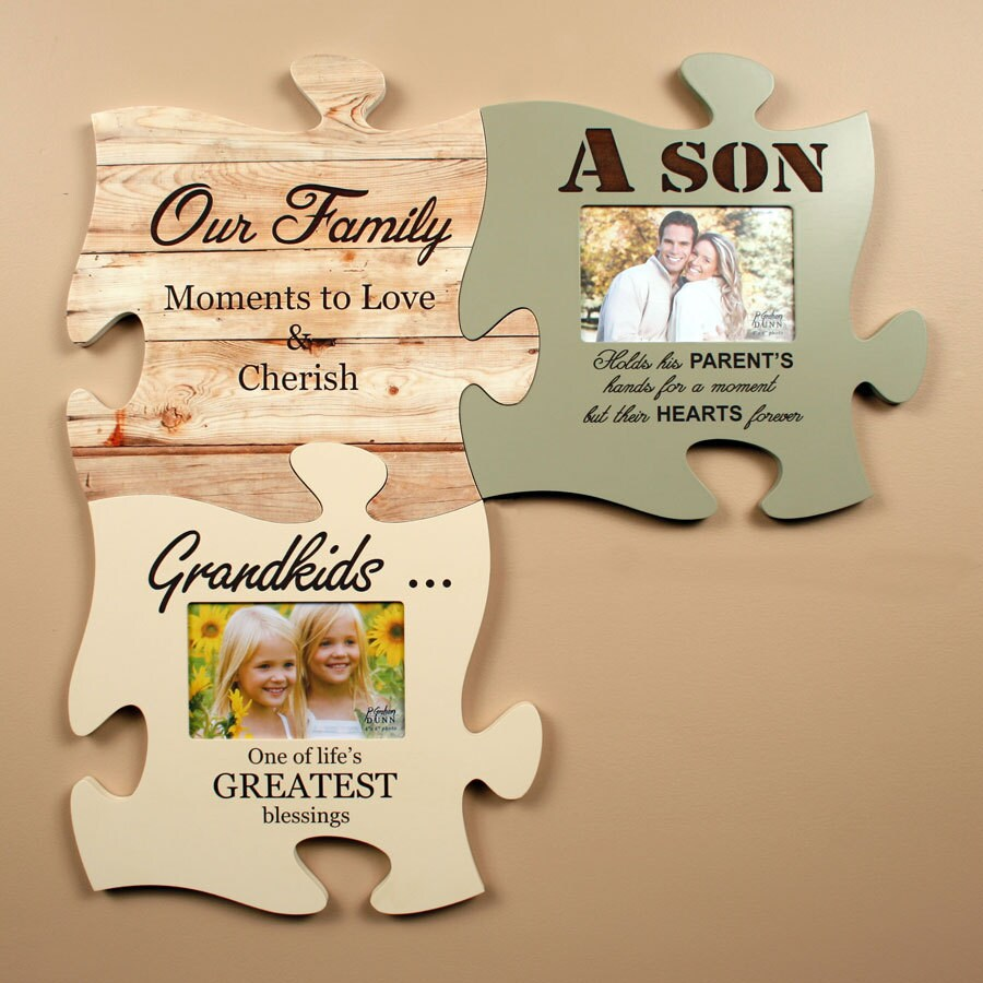 Lot of 3 Personalized Puzzle Piece Wall Art Picture Frames ...