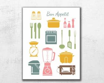 Keuken Print met Decor van de keuken, keuken kunst, kunst aan de muur keuken, keuken wand Decor, keuken Poster, afdrukbare kunst, kunst voor keuken