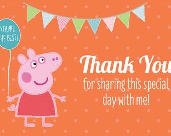 Peppa Pig Thank Card Etsy