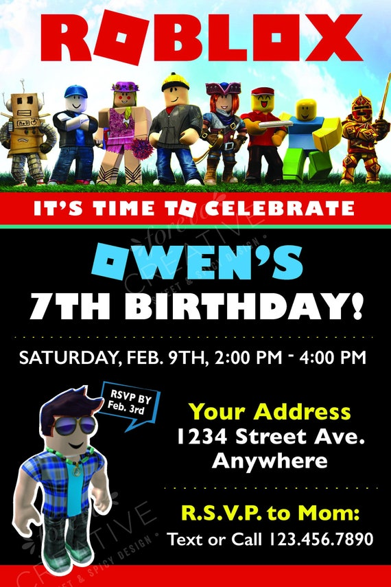 Roblox Packages Download - Roblox Birthday Party Invitation Digital Download Easy To Print At Home Red Black Roblox Inspired