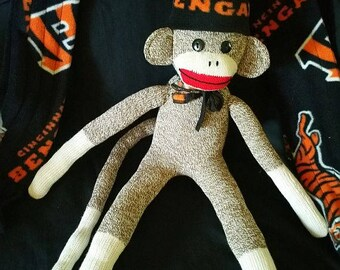 Cincinnati Bengals Sock Monkey, Cincinnati Bengals Sock Monkey Toy, Handmade Item, Bengals Sock Monkey Doll