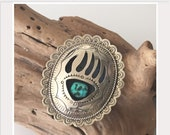 Vintage Bear Claw Sterling Silver Turquoise Belt Buckle