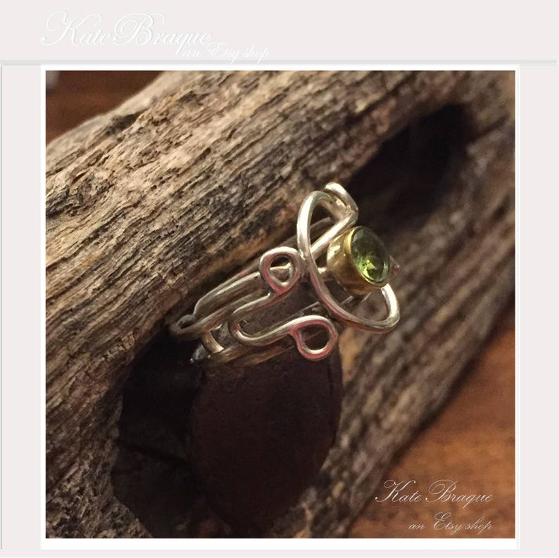 Peridot Sterling Silver Free Form Ring