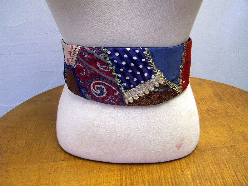 Handmade crazy quilt CUMMERBUND beautiful accessory. Free image 0