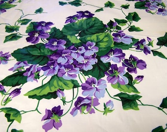 "Vintage fabric, cotton chintz, ""Sweet Violets"" manufactured by Everfast Fabrics Inc.  (c ) Everglaze Chintz. Free Shipping."