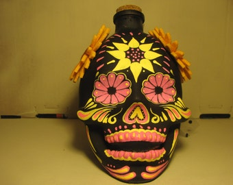 Hand painted glass skull