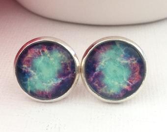 Galaxy Earring Studs - Purple Stud Earrings - Space Earrings for Women - Space Earrings - Galaxy Post Earrings - Everyday Earrings for Girls