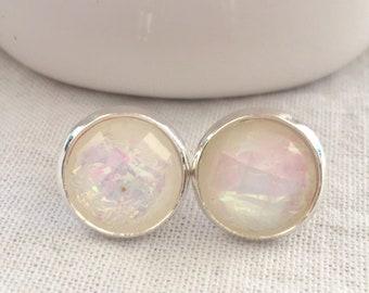 34d96fe4f White Stud Earrings - Silver Stud Earrings - Iridescent White Stud Earrings  - Unique Earrings - Silver Bridesmaid Earrings - Unique Studs