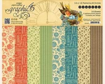 Graphic 45 Seasons 12x12 Patterns and Solids Paper Pad, SC007751
