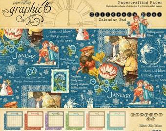 CLEARANCE! Graphic 45 Children's Hour 8X8 Calendar Paper Pad, SC007585