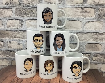 Corporate Gifts Intern Gift Custom Mugs Personalized Mug Picture Funny Best Friend Caricatures Coworker