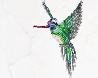 Beaded Bird Suncatcher, Hummingbird Ornament, Bird Necklace, Window Decor, 3D Bird Figurine, Hanging Decor,  White-eared  / Made to Order