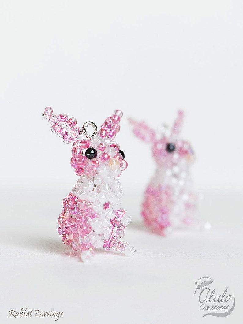 ec008c782 Easter Bunny Earrings Rabbit Earrings Beaded Rabbit Dangle | Etsy