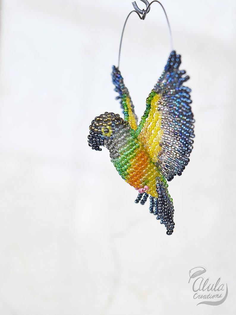 Parrot Ornament Hanging Decor  Made to Order Bird Necklace Bead Work Art Bird Lover Gift Senegal Parrot Suncatcher Bead Bird Figurine