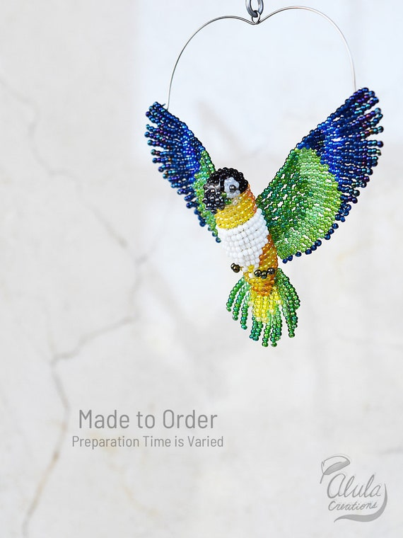Black Headed Caique A Suncatcher Parrot Ornament Beadwork Etsy