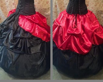 Bustle Skirt Overskirt with Ruffle Trim Rococo Victorian S M L XL XXL Tie On Many Colors