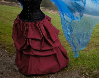 Taffeta bustle pick-up skirt in Burgundy gothic steampunk CUSTOM sale
