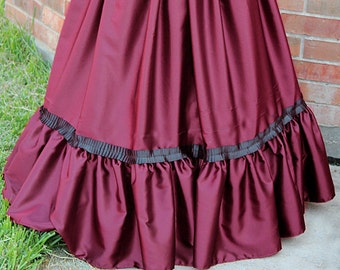 Victorian Skirt with Ruffle Burgundy Red Black Gothic Steampunk Cosplay S M L XL XXL 3XL Edwardian