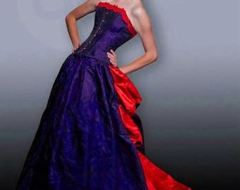 Corset Bustle Dress With Contrast Custom Sized Many Colors Gothic Steampunk Taffeta Satin Salon De Paris Gown CUSTOM ORDERS OPEN