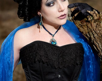 Curvy Elegance Corset Black Dull Satin with Wide Venice Lace Trim Victorian Overbust Custom Sized