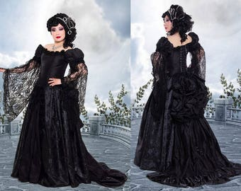 Dark Roses Bustle Gown Couture Dark Fantasy medieval renaissance victorian fusion gothic wedding masquerade corset dress CUSTOM ORDERS OPEN