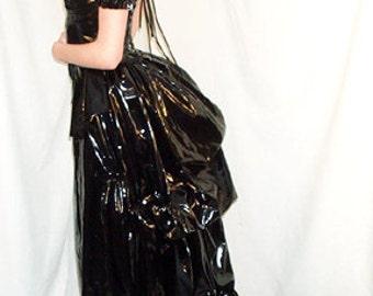 PVC Bustle Dress Gothic Fetish Victorian Steampunk Custom Sized Black Silver Red