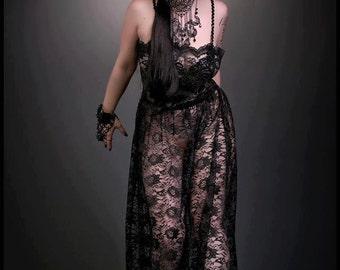 Black Lace Sheer Gown Gothic Beaded Strappy Dark Fantasy Boho S thru XL