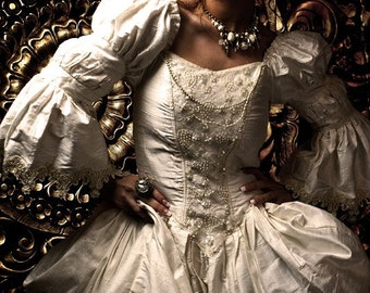 Wedding Gown renaissance fairytale rococo gothic in Silk Steampunk Romantic Couture CUSTOM ORDERS OPEN