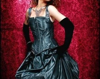 Bustle Gown corset Neo Victorian Steel Boned Custom Silk or Taffeta Many Color Choices Gothic Steampunk CUSTOM ORDERS OPEN