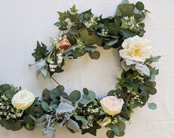Eucalyptus Garland, Flower Garland, Wedding Flowers, Silk Flowers, Floral Garland, Wedding Garland, Silk Flower Garland, Rose Garland