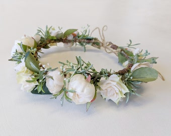 Flower Crown, Silk Flower Crown, Artificial Flower Crown, Wedding Flower Crown,  Bridal Flower Crown, Wedding Hair Accessory, Wedding Crown
