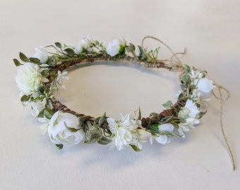 Flower Crown, Silk Flower Crown, Artificial Flower Crown, Wedding Flower Crown,  Bridal Flower Crown, Wedding Hair Accessory, Wedding Crown