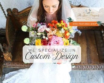 Wedding Flower Package, Custom Wedding Flowers, Silk Flowers, Artificial Flower Bouquets, Bridal Bouquet, Wedding Bouquets, Faux Flowers
