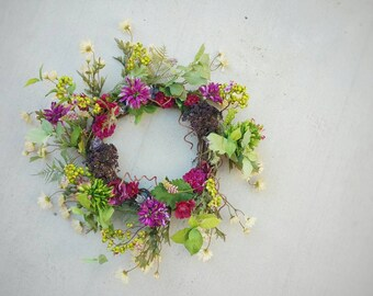 Wreath, Silk Flower Wreath, Artificial Wreath, Seasonal Wreath, Flower Wreath, Floral Wreath, Succulent Wreath, Door Wreath