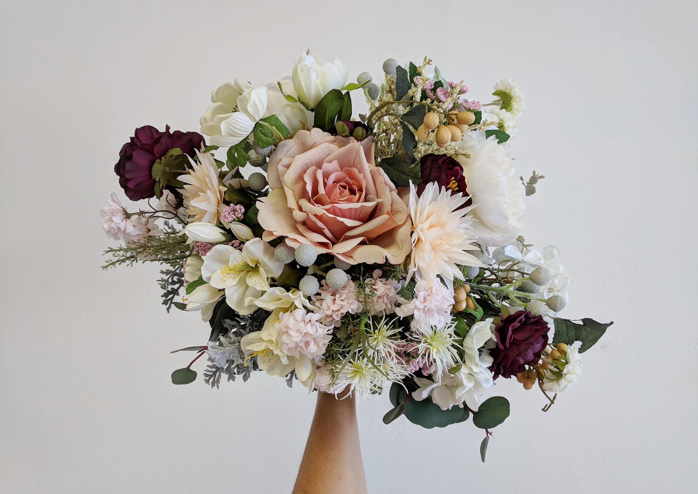 Wedding Bouquet Wedding Flowers Silk Flower Bouquet Silk Etsy