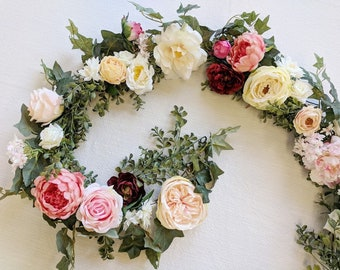 Flower Garland, Wedding Flowers, Silk Flowers, Floral Garland, Wedding Garland, Silk Flower Garland, Rose Garland, Babies Breath Garland