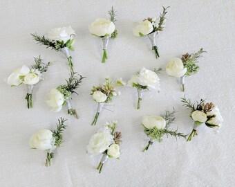 Boutonniere, Wedding Flowers, Silk Flowers, Wedding Boutonniere, Silk Flower Boutonniere, Flower Boutonniere, Artificial Boutonniere