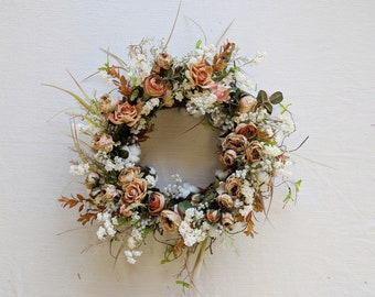 Wreath, Silk Flower Wreath, Artificial Wreath, Seasonal Wreath, Flower Wreath, Floral Wreath, Door Wreath