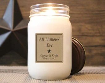 All Hallows' Eve • Fall Candles, Halloween Candle, Soy Candle, Scented Candle, Candles in Jars, Handmade Candle, Rustic Farmhouse Decor