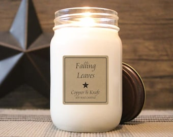 Falling Leaves • Fall Candles, Halloween Candle, Autumn Candle, Soy Candle, Scented Candle, Handmade Candle, Rustic Farmhouse Decor