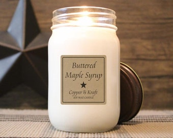 Buttered Maple Syrup • Winter Candle, Cozy Candle, Soy Candle, Scented Candle, Candles in Jars, Handmade Candle, Rustic Farmhouse Decor
