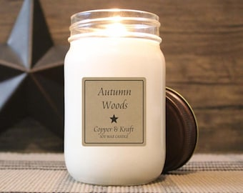 Autumn Woods • Fall Candles, Autumn Candle, Soy Candle, Scented Candle, Candles in Jars, Handmade Candle, Cozy Candle, Farmhouse Decor