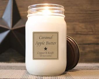 Caramel Apple Butter • Fall Candles, Halloween Candle, Autumn Candle, Soy Candle, Scented Candle, Handmade Candle, Rustic Farmhouse Decor